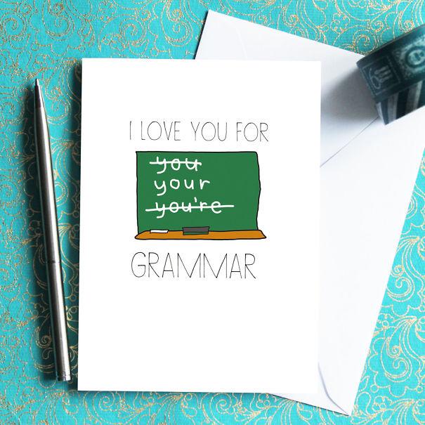 """Grammar Nazi """"i Love You"""" Card"""