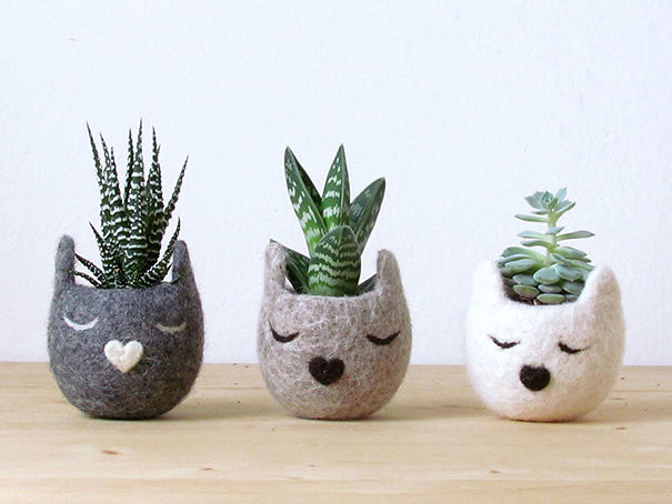 Felted Cat Planters