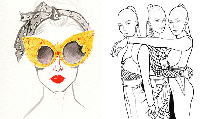 These Illustrations Show Hand-Drawn Highlights From Four Major Fashion Weeks