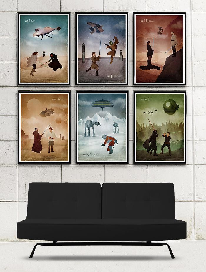I Designed Vintage Star Wars Episode Minimalist Posters