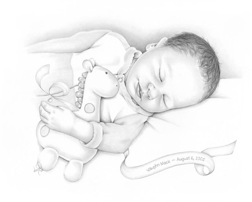 i draw baby portraits for families who suffered early losses bored