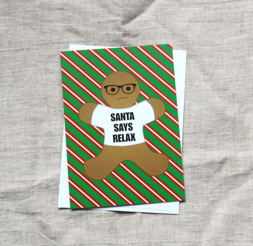 Hipster Gingerbread Man Christmas Card