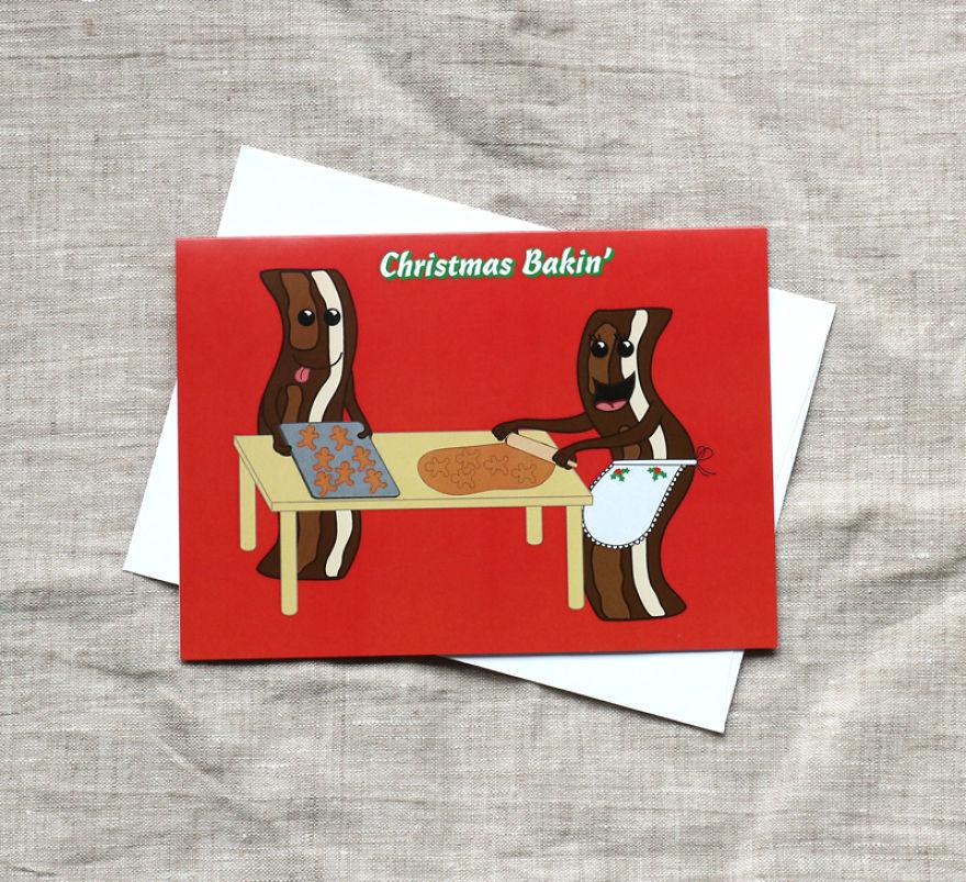 Christmas Bakin' Bacon Christmas Card