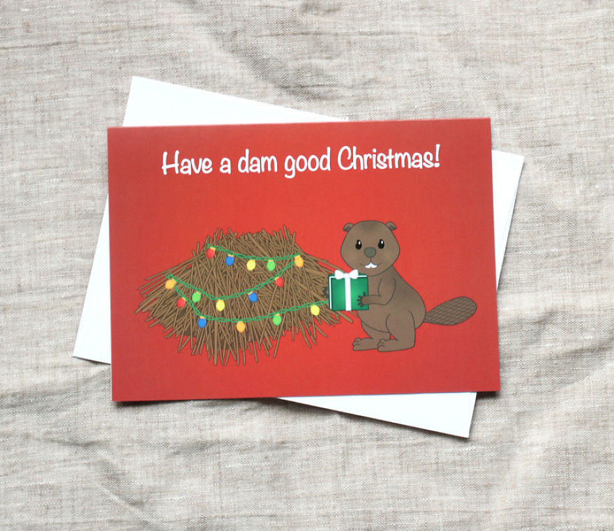 Have A Dam Good Christmas! Beaver Christmas Card