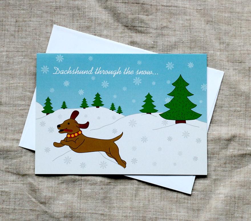 Dachshund Through The Snow Christmas Card