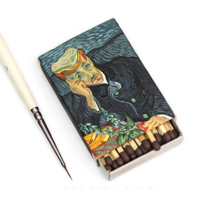Designer Matchboxes i recreate van gogh paintings on matchboxes | bored panda
