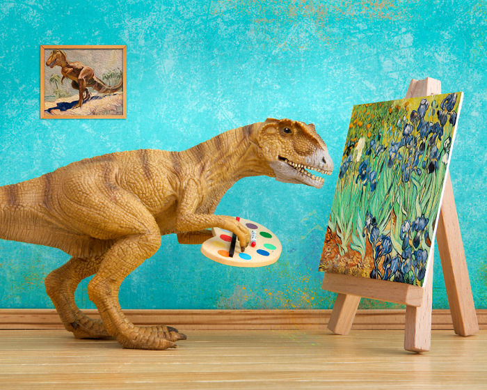 I Teach My Daughter Photography By Creating Domestic Dinosaur Scenes