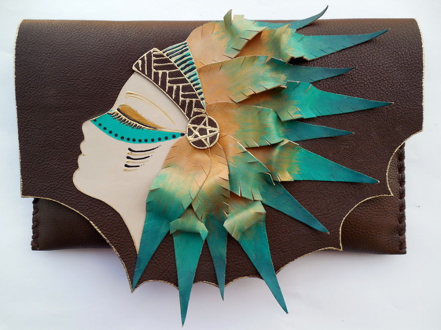 i use 3d and collage techniques to create unique handmade leather
