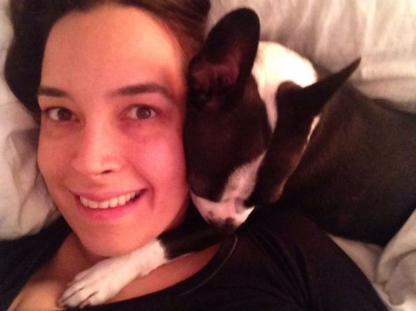 Cheek To Cheek With Pepper My Boston Terrier