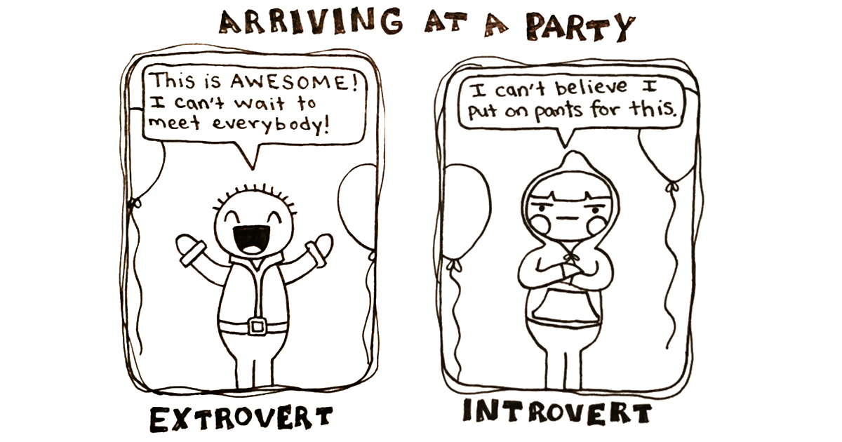 introvert vs extrovert creating a The trait of extraversion–introversion is a central dimension of human personality  theories  words representing introversion are reverse coded to create  composite measures of extraversion/introversion running on a continuum  goldberg.