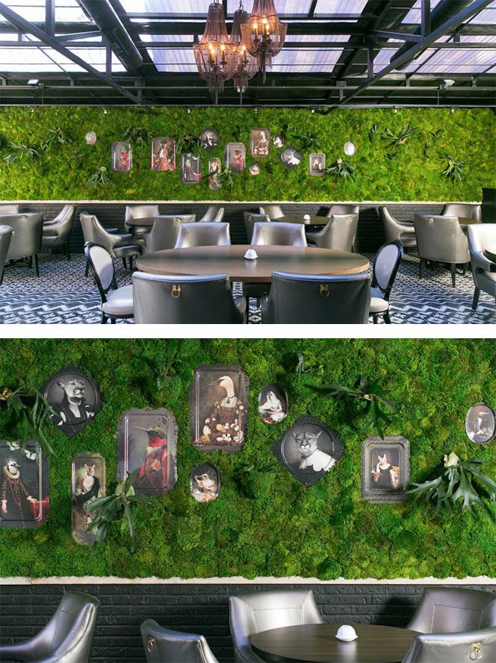 Moss Wall In A Restaurant