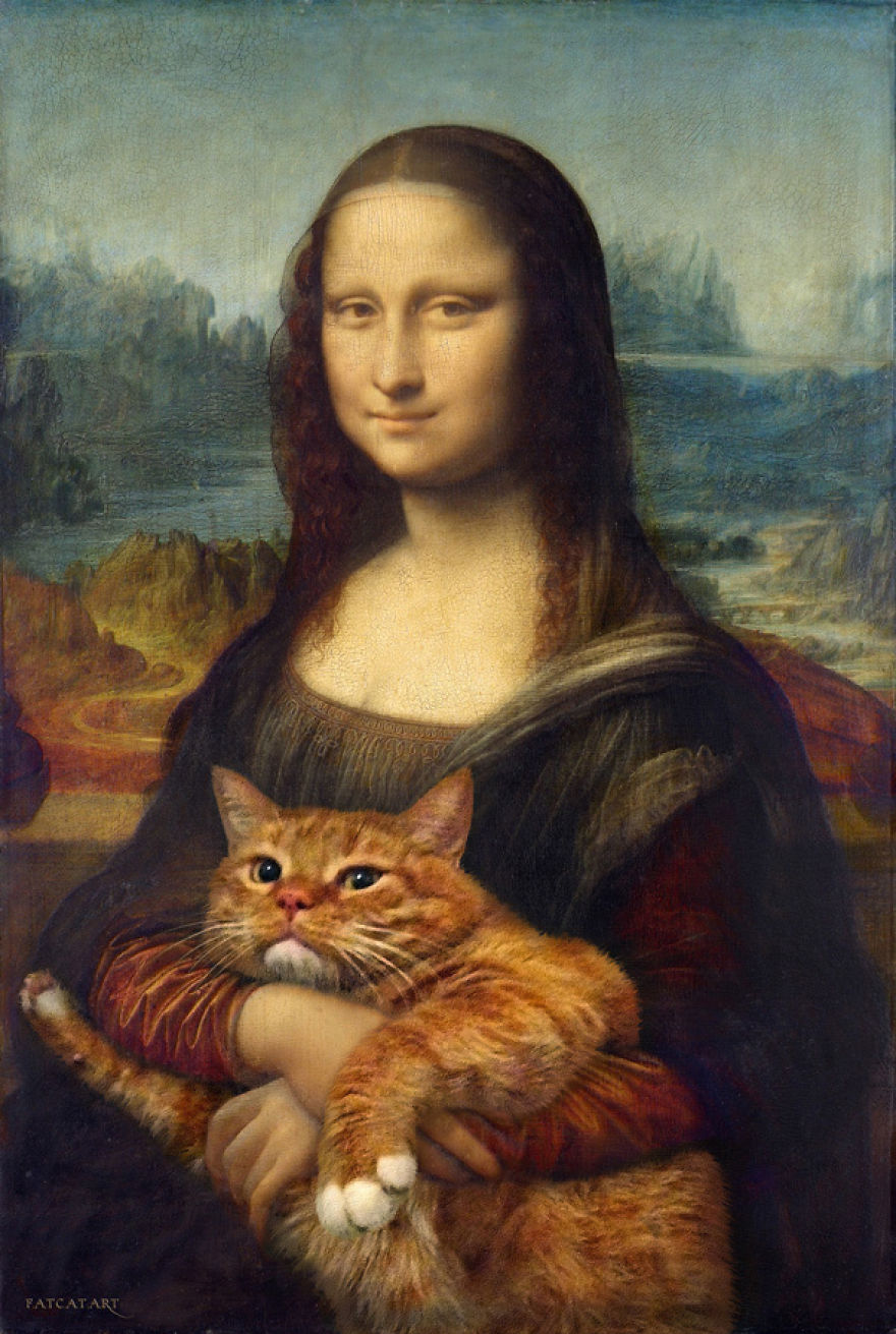 Ginger Cat Zarathustra with Mona Lisa