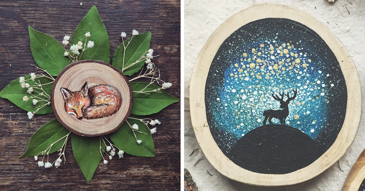 I Quit My Boring Office Job To Start Making Mini Paintings On Recycled Wood