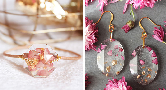 Real Flower Petals And Gold Flakes In Resin Jewelry By Lyuda