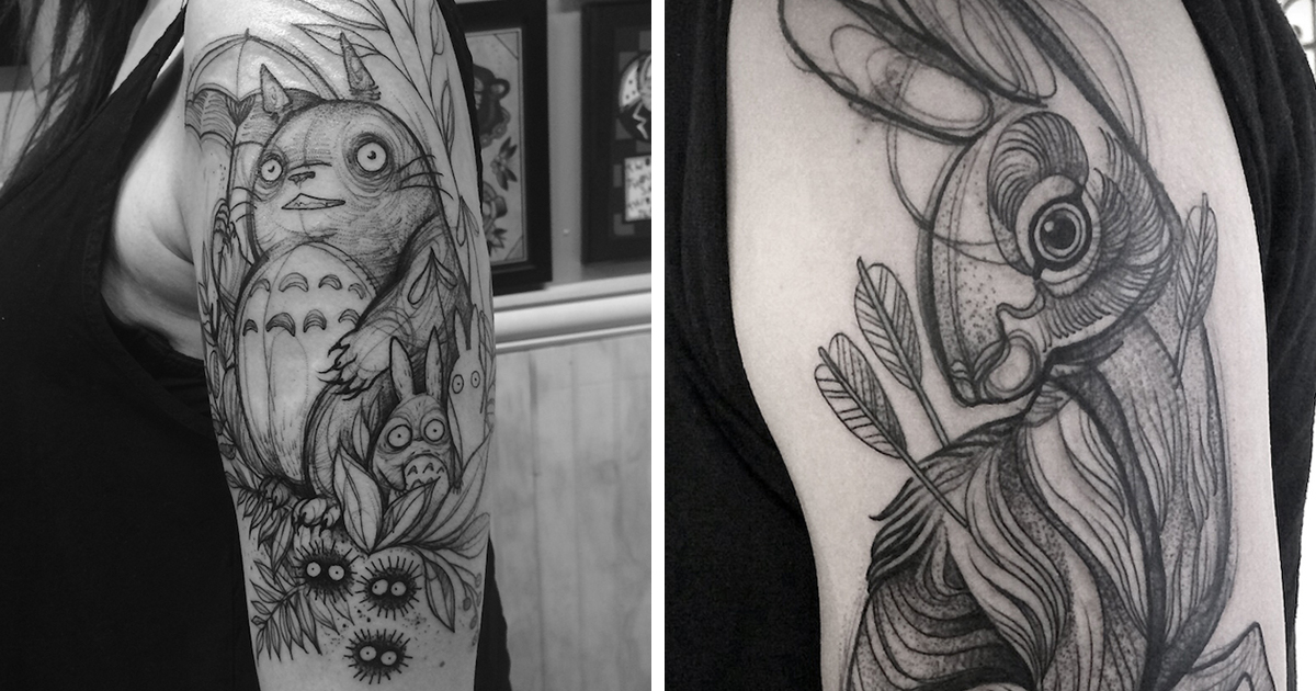Line Art Animals Tattoo : Sketch tattoos that look like pencil drawings by nomi chi bored