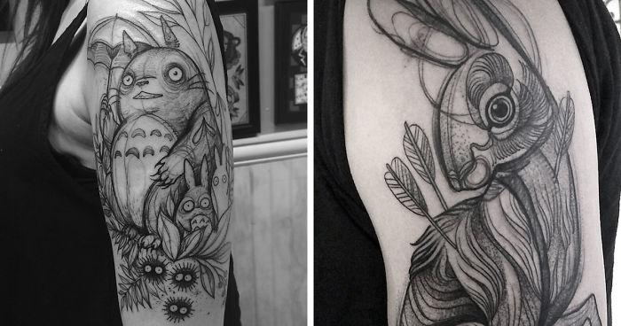 b0bd219f5 Sketch Tattoos That Look Like Pencil Drawings By Nomi Chi   Bored Panda