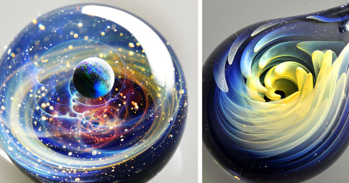 Space Glass Planets And Galaxies Trapped In Tiny Glass