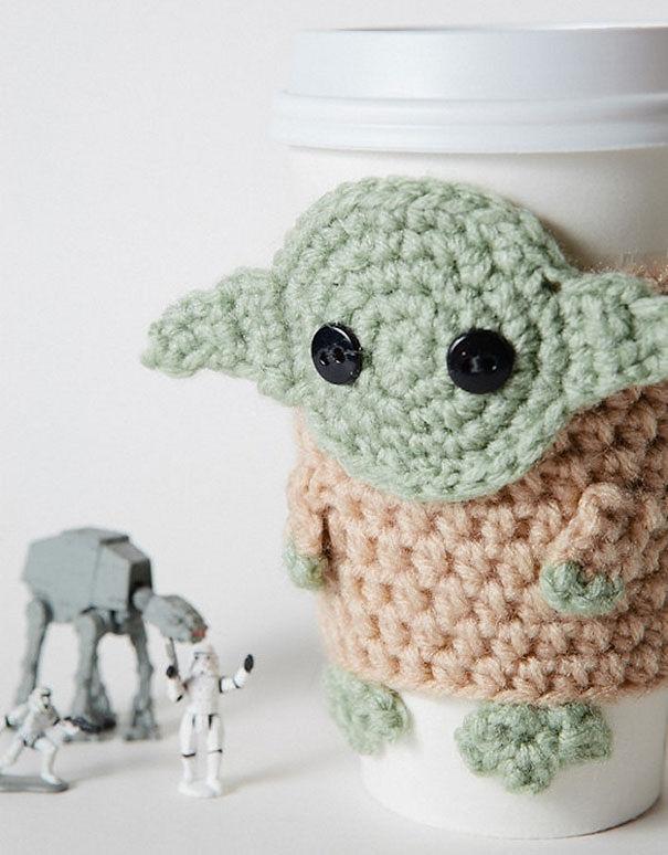 Crocheted Yoda Coffee Cozy