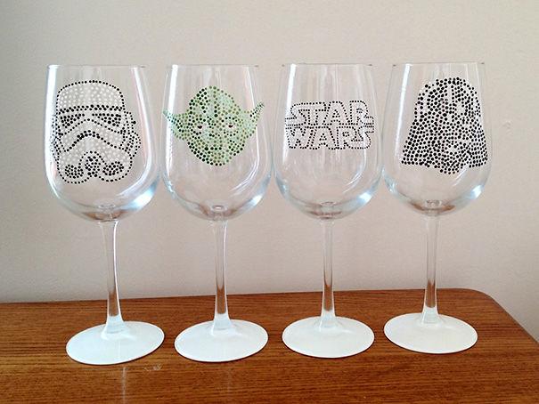 4 Beyaz Şarap Camları Of Star Wars Set