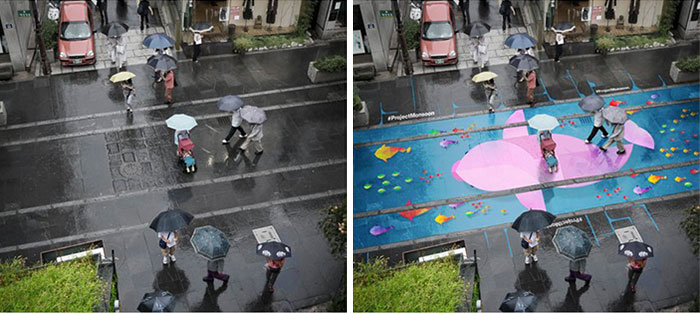 Colorful Murals Appear On Roads Only When It's Raining