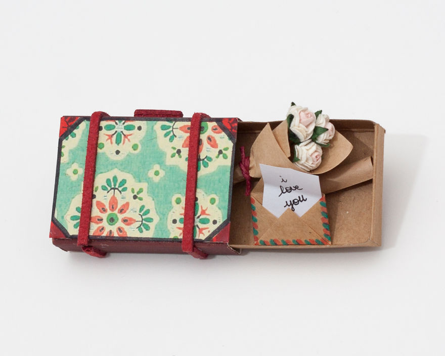 Vintage Miniature Suitcase Greeting Card with Surprise Messages Inside