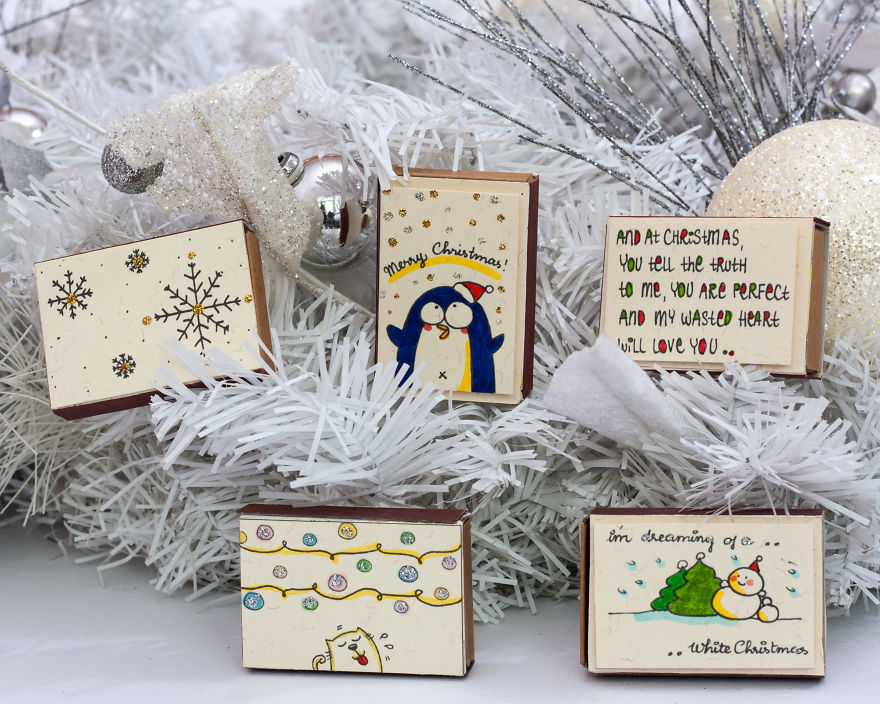 Cute Christmas Greeting Cards made from Matchboxes from 3XUdesign