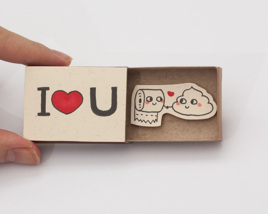 Funny I Love You Matchbox Card with Poo and Toilet Paper