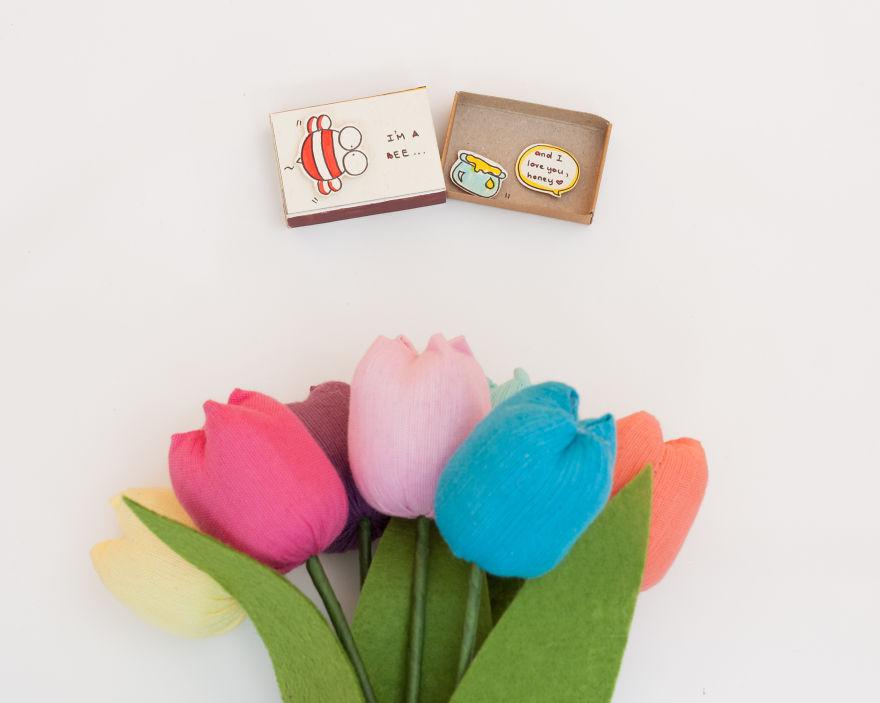 Cute Pun Love Card I'm a Bee and Honey, I Love You Matchbox Card