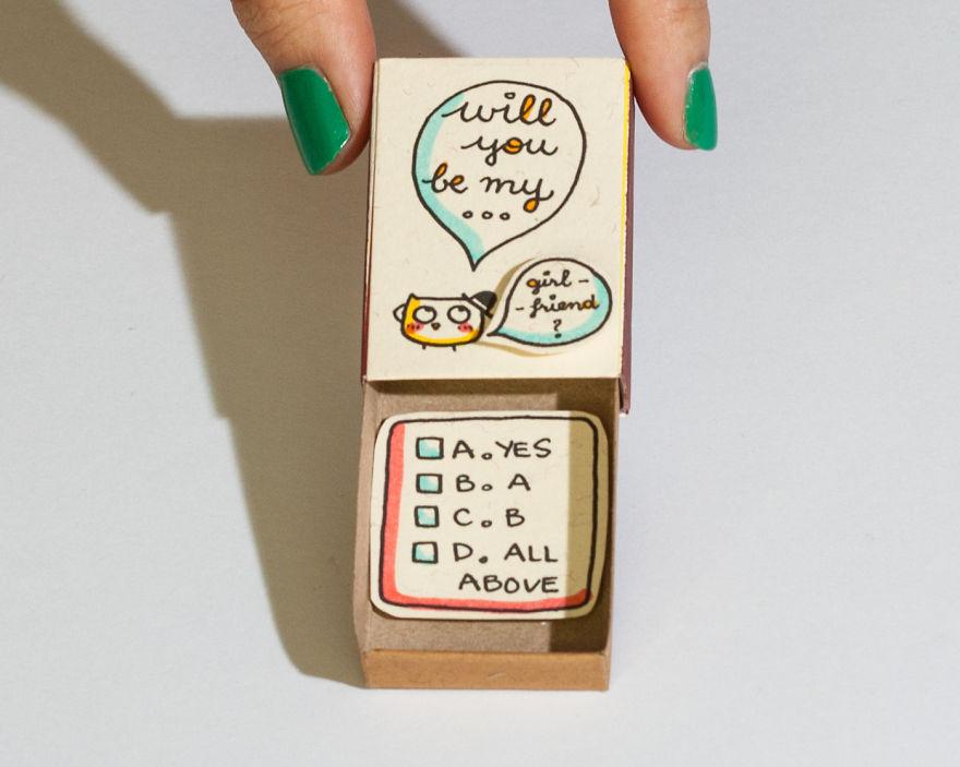 Will You Be My Girlfriend Proposal Matchbox Card
