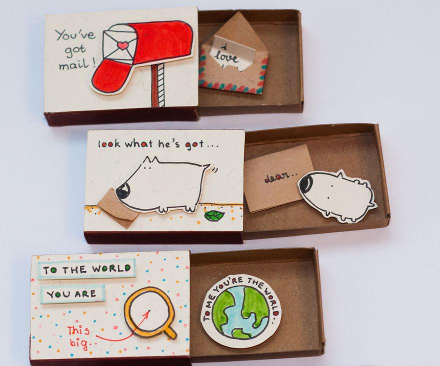 Cute Matchbox Cards, Love Card Handmade Unique Gifts