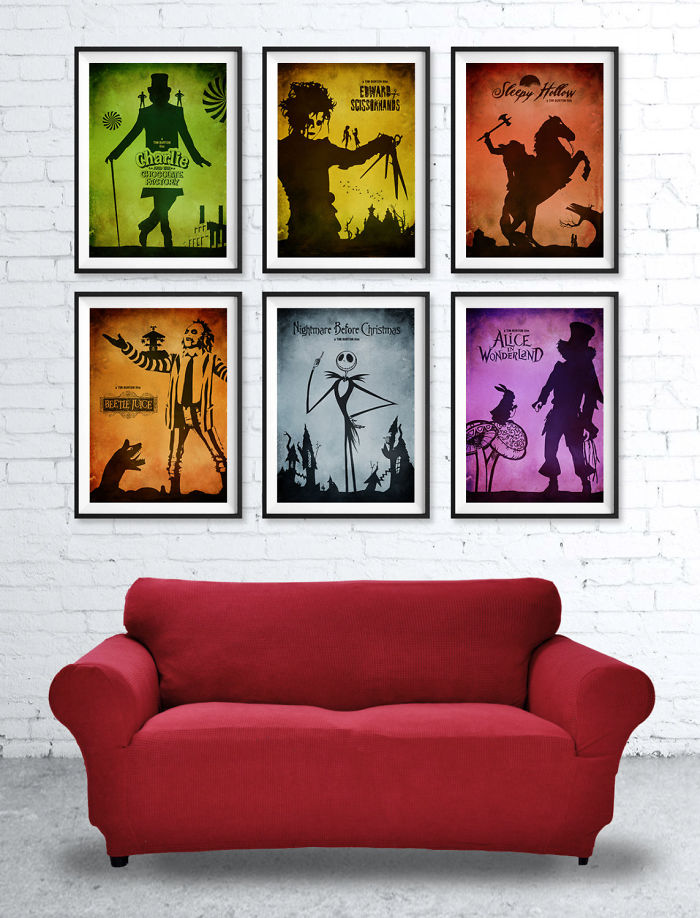 Tim Burton's Minimalist Poster Set: Edward Scissorhands, Alice In Wonderland, Beetlejuice Etc.