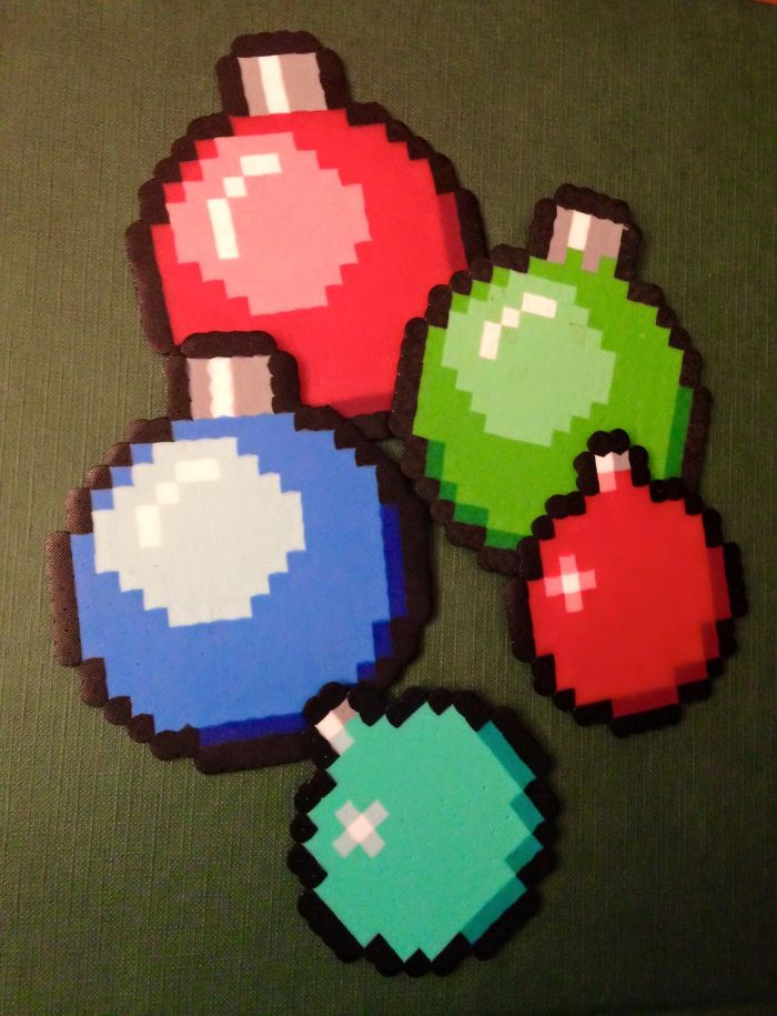We Make Pixel Ornaments In Retro Styles