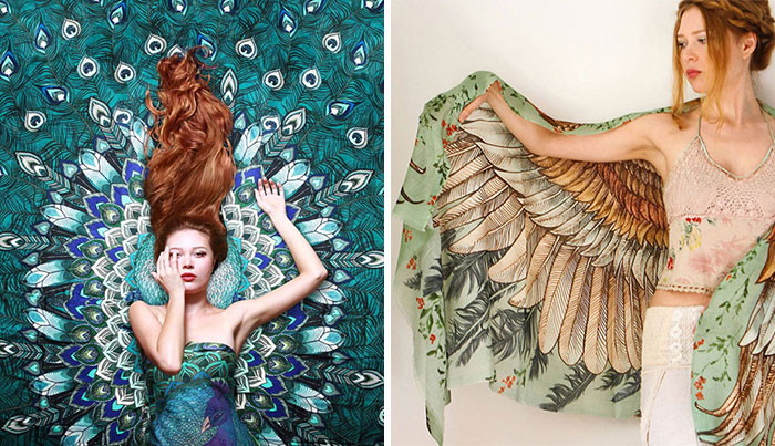 New Hand-Drawn Winged Scarves That Will Turn You Into A Bird