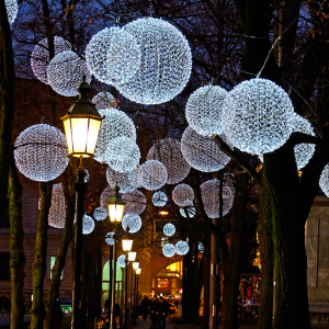 Winter Light Ornaments Float Above The Munich Promenadeplatz In Germany