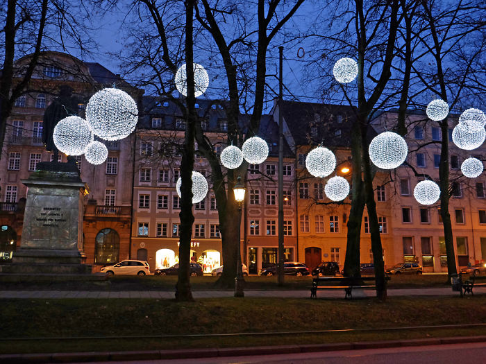 Winter Light Ornaments Float Above The Munich Promenadeplatz In Germany