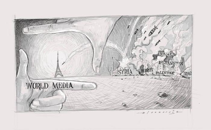 """World media"" by Leemarej #PrayForTheWorld"