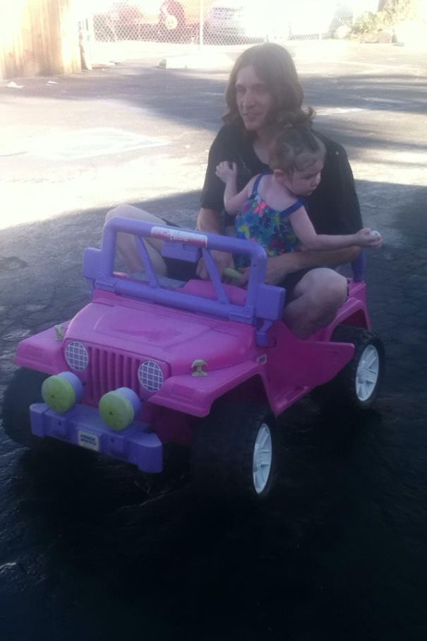 Had To Convince My 2 Y/o It Was Okay To Drive In