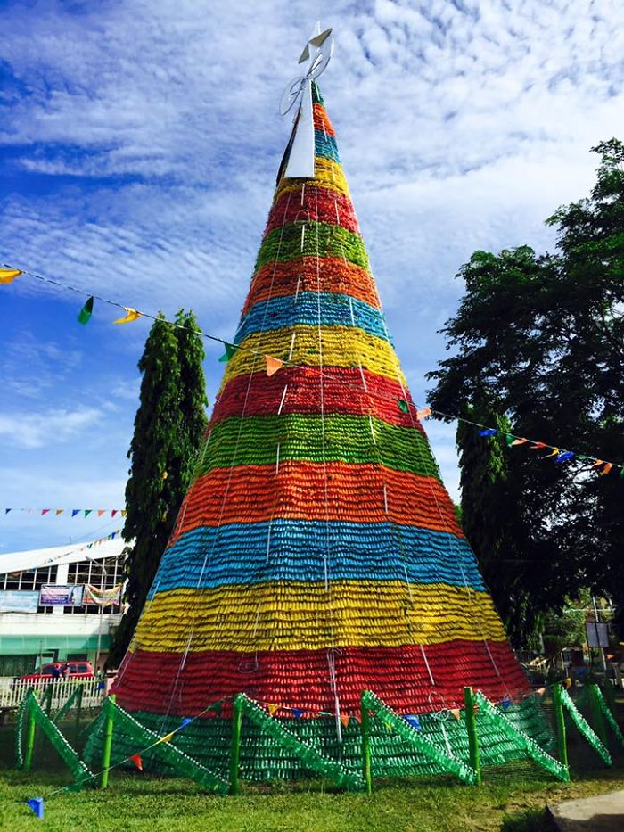 Christmas Tree Made Of Recycled Plastic Bottles, Upi In Southern Philippines