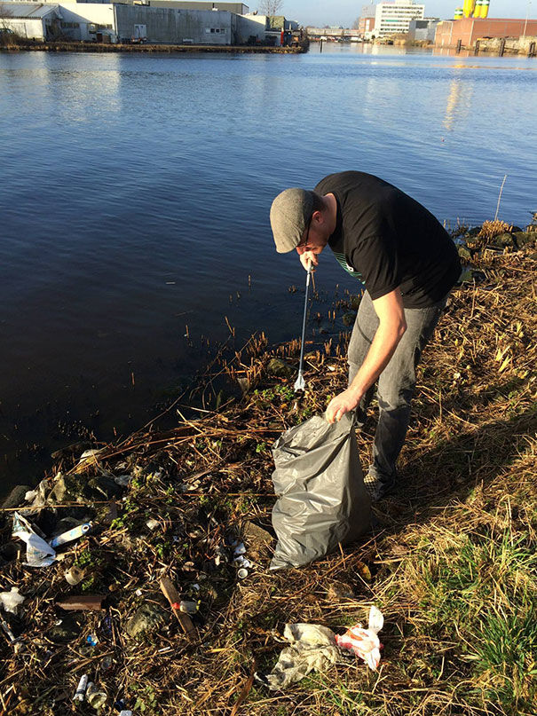 Dutch Guy Was Annoyed By The Trash On His Way To Work So He Cleaned Up A Heavily Polluted Waterfront