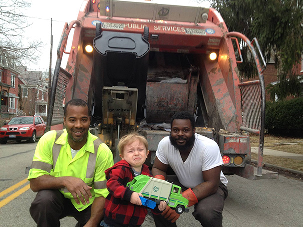 Quincy's Been Waiting All Week To Show The Garbage Men His Garbage Truck. But, In The Moment, He Was Overwhelmed In The Presence Of His Heroes