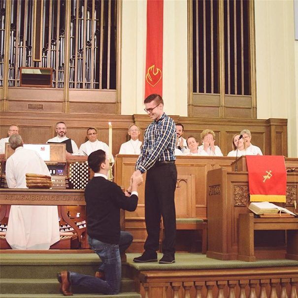 This Man Proposed To His Boyfriend In Their Church As They Weren't Allowed To Get Married Inside. They Were Greeted With Standing Ovations