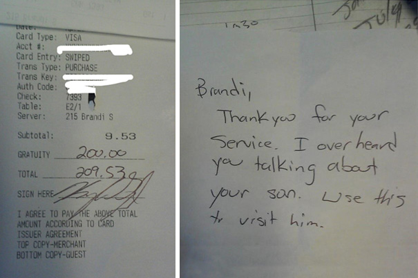 This Customer Who Tipped A Waitress $200 On A $9.00 Meal After He Overheard Her Talking Quietly To A Coworker About Missing Her Son