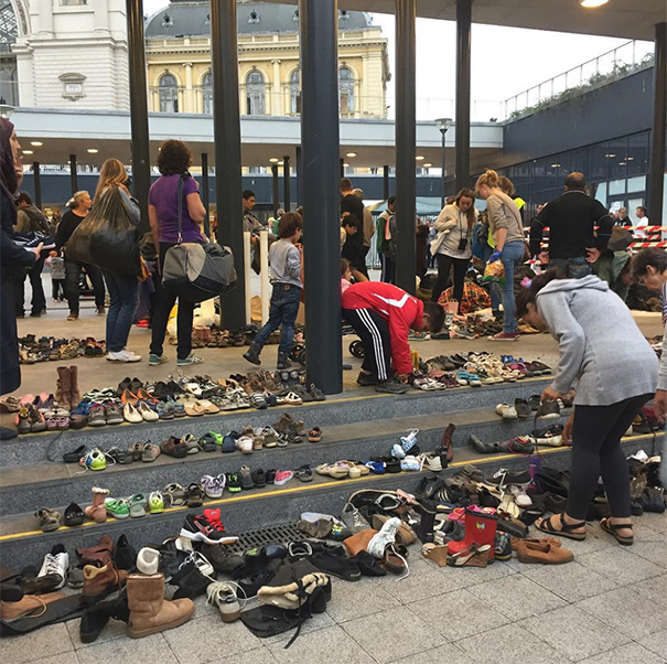 Hungarians Bring Their Shoes To The Budapest Train Station For Arriving Migrants