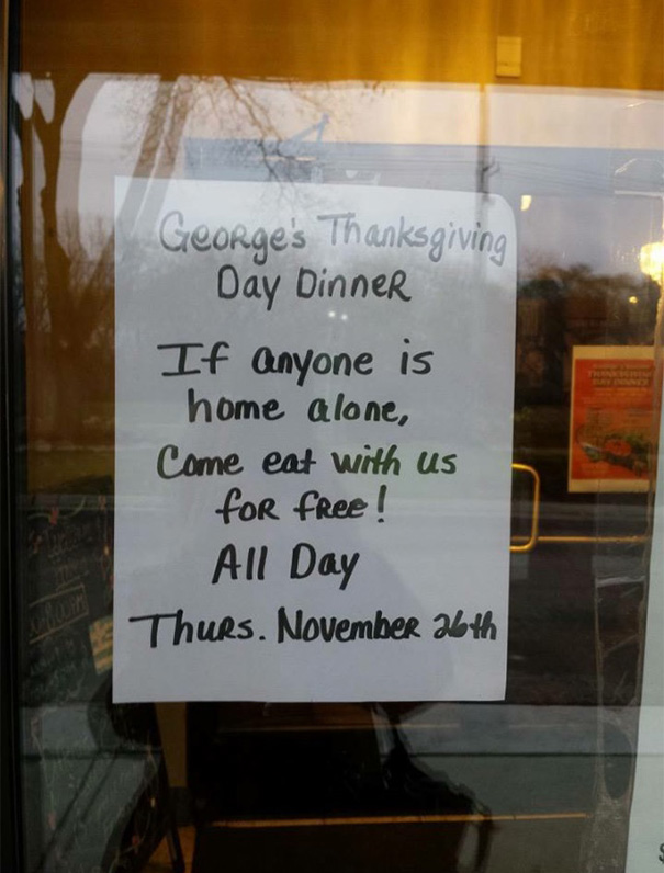 This Restaurant Will Give Free Food To Lonely People On Thanksgiving