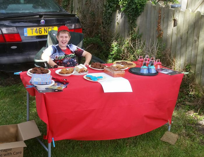 My 12 Year Old Son Ran A Cake Stall To Raise Money For Cancer Research. He Raised £79.