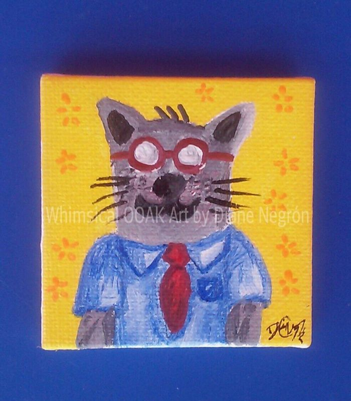 #23 Nerdy Cat Mini Painting