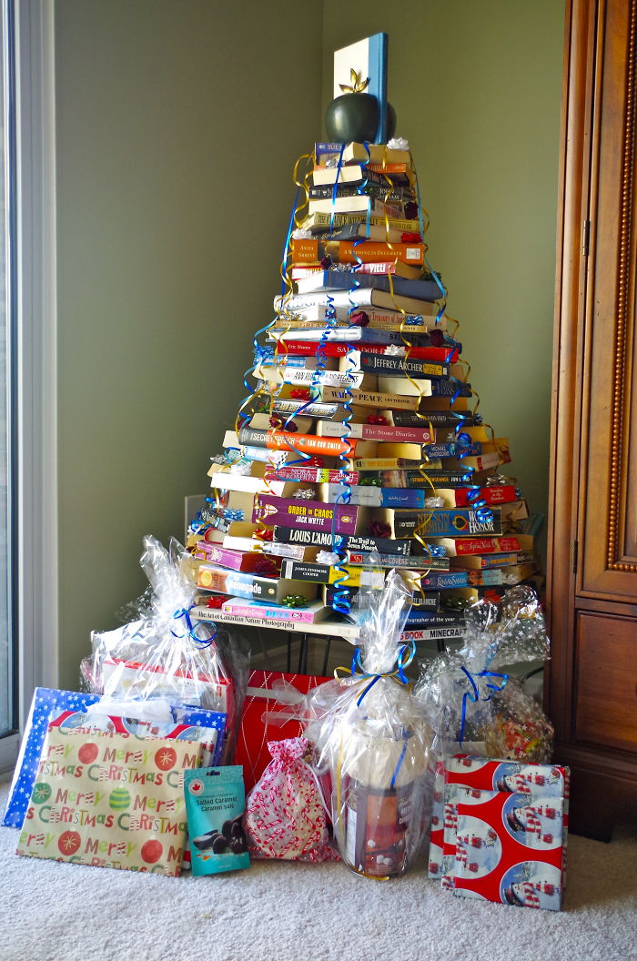 "A ""novel Idea"" Christmas Tree With Bookend Topper."