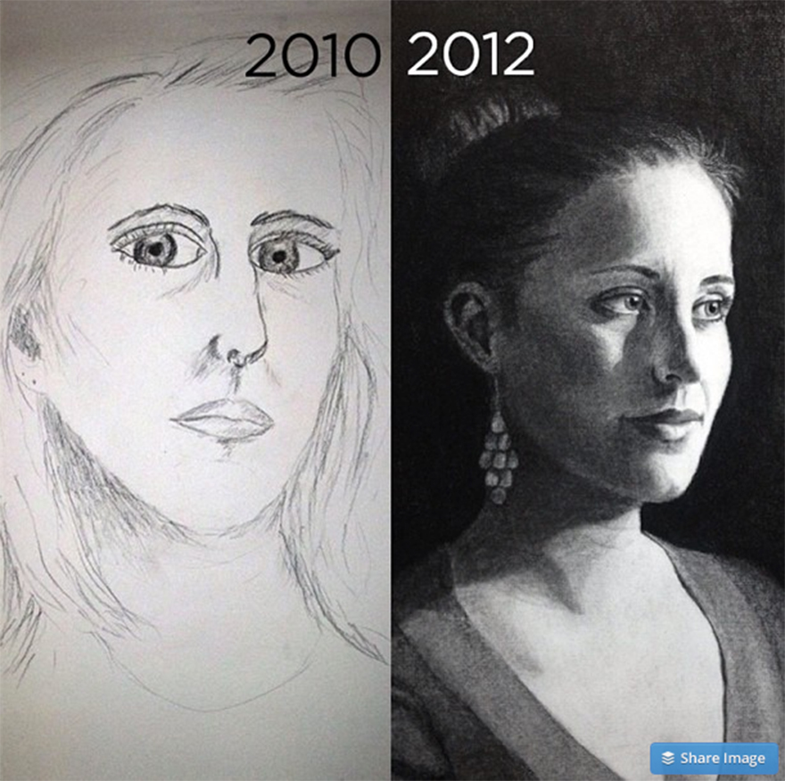 My Self Portrait Progress Over Two Years