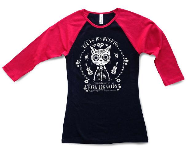 Day Of The Dead Cat Raglan Sleeve Tee Shirt