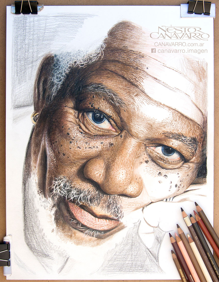 How to draw with colored pencils - My 50 Hour High Detail Drawing Of Morgan Freeman In Color Pencils Bored Panda